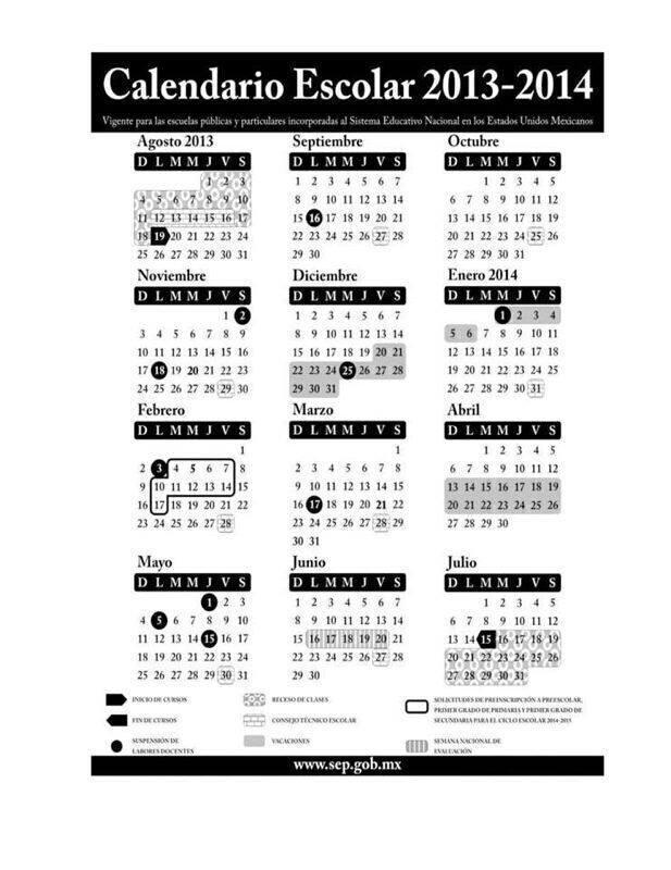 Calendario escolar SEP 2013-2014 « El blog del Maestro
