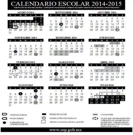 Calendario Escolar SEP 2014-2015 « El blog del Maestro