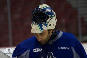 """Roberto Luongo debuted a new """"vintage tribute"""" mask Monday."""