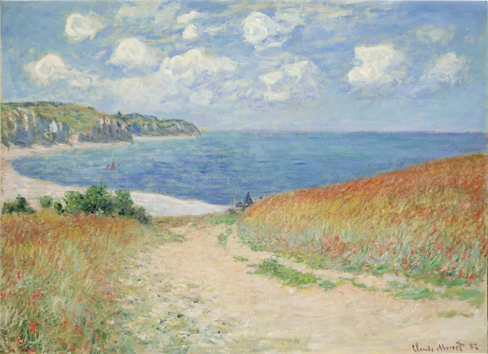 "Claude Monet, Chemin Dans Les Bles a Pourville, 1882, oil on canvas, 23x30.75"","