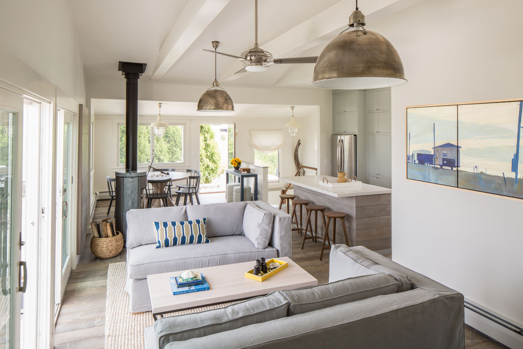 open plan kitchen living room ideas ireland how to arrange furniture with corner fireplace before & after: modern beach cottage – in good taste