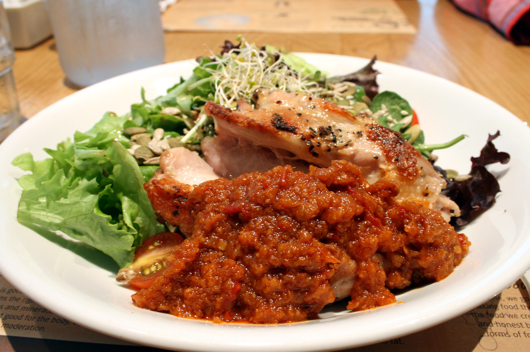 Grilled chicken salad with lemongrass sambal