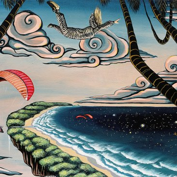 Ingrid Nuss art acrylic painting of a skydiver in a zebra onesie with pink clouds over Wilderness paragliding site 'Map of Africa' and paragliders and palm trees.