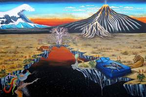 Ingrid Nuss art acrylic painting and of a landscape breaking open revealing space and a sunset with a hokusai great wave and volcano and baobab trees and a tiger and a lion and a whale in a bad and Indonesian Batik birds.