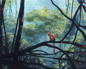 Ingrid Nuss Art acrylic painting of a red monkey in a green lush evergreen forest with trees and vines and branches growing and organic patterns.