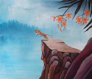 Ingrid Nuss art acrylic painting of a tiger jumping off a ledge into the abyss with Japanese style flowers and blue faded forest in the background.