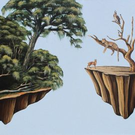 Ingrid Nuss Art painting of garden route animals floating away from a lush forest island in the surreal style
