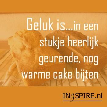 Spreuk: Geluk is.... in een stukje heerlijk geurende, nog warme cake bijten