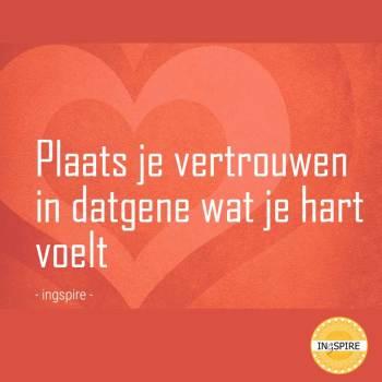Citaat over Vertrouwen vinden - Plaats je vertrouwen in datgene wat je hart voelt - quote door ingspire.nl