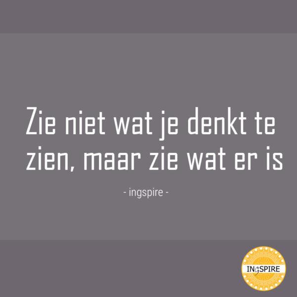 Spreuk: Zie niet wat je denkt te zien, maar zie wat er is - quote van www.ingspire.nl