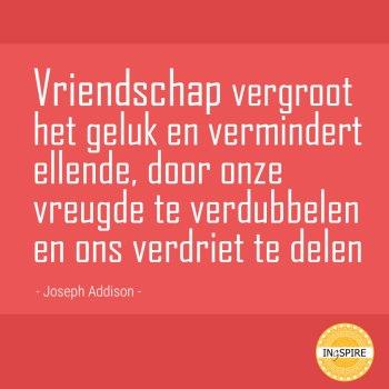 Quote: Vriendschap vergroot het geluk en vermindert ellende, door onze vreugde te verdubbelen en ons verdriet te delen - citaat van Joseph Addison op ingspire.nl