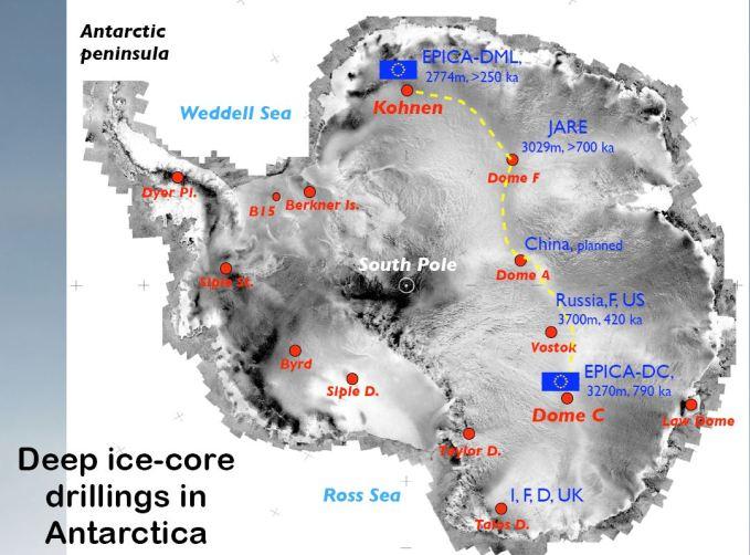 siti di carotaggi per il campionamento di ghiaccio con aria fossile