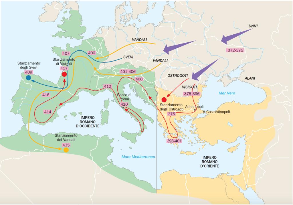 carta dele invasioni e migrazioni dei barbari all'inizio del V secolo