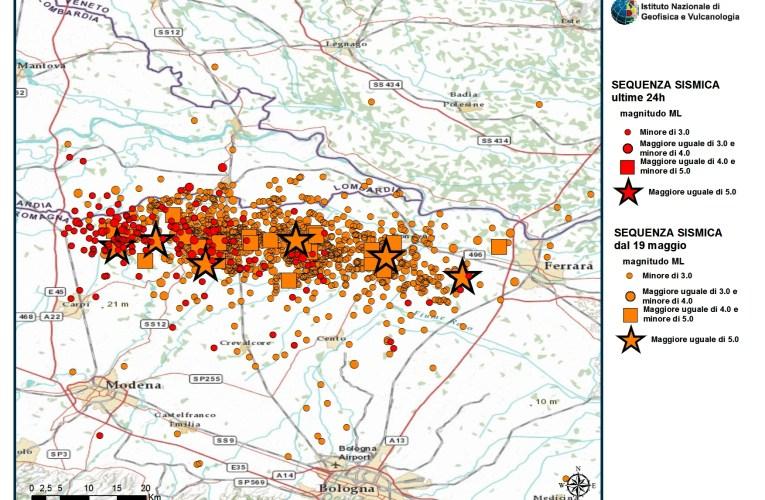 Terremoto Pianura Padana Emiliana: aggiornamento ore 18.00 del 30 maggio