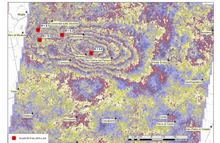 Terremoto in Pianura Padana Emiliana: spostamento del suolo dovuto al terremoto del 29/05/2012, visto dal satellite italiano COSMO-SkyMed