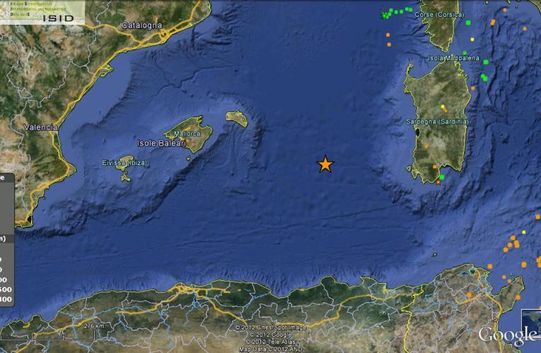 Terremoto nel Mar Mediterraneo occidentale – M 4.5 – 19 giugno ore 00:09