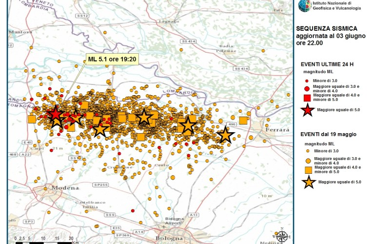 Terremoto Pianura Padana Emiliana: evento M5.1, 3 giugno ore 21.20