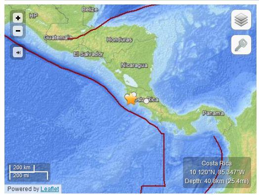 Terremoto M 7.6 Costa Rica (05 settembre ore 14.42 UTC)