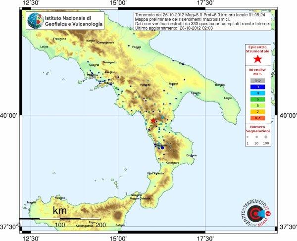 Terremoto nel Pollino, M5.0, 26 ottobre 2012 alle ore 01:05