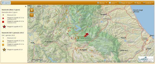 Localizzazione del terremoto ML3.7 avvenuto alle 02.00 del 17 febbraio (il cerchio rosso più grande).