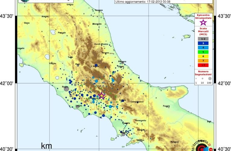 Terremoto in provincia di Frosinone, M4.8, 16 febbraio ore 22.16