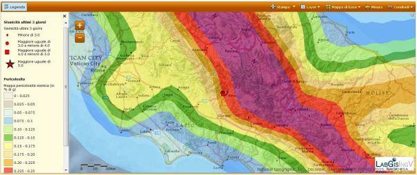 Mappa di pericolosità sismica del territorio nazionale (GdL MPS, 2004; rif. Ordinanza PCM del 28 aprile 2005, n. 3519, All. 1b)<br /><br />espressa in termini di accelerazione massima del suolo con probabilità di eccedenza del 10% in 50 anni, riferita a suoli rigidi (Vs30>800 m/s; cat. A, punto 3.2.1 del D.M. 14.09.2005).<br /><br />
