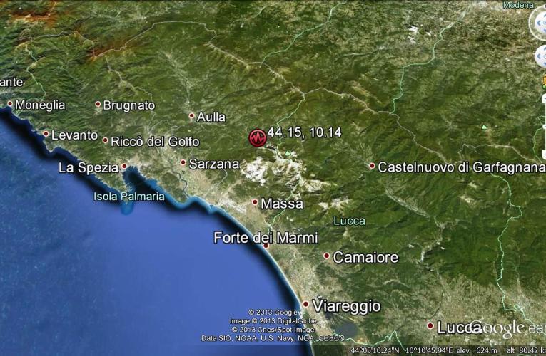 Evento sismico tra le Province di Lucca e Massa