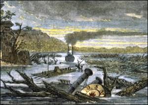 Il fiume Mississipi dopo i terremoti del New Madrid del 1811-1812