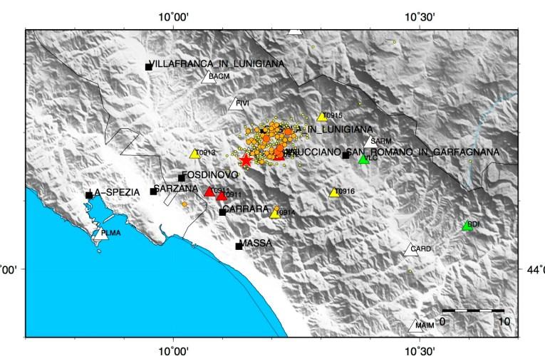 Aggiornamento sequenza sismica in Lunigiana, 22 giugno ore 12