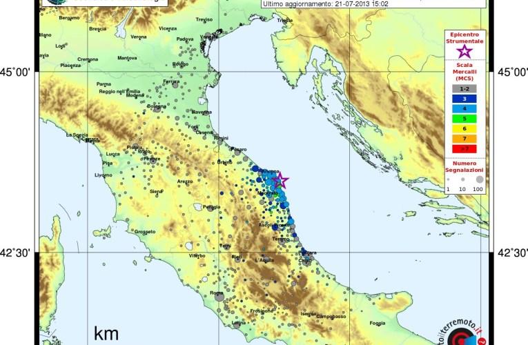 Aggiornamento sequenza sismica in Adriatico centro-settentrionale, 21 luglio ore 17:00