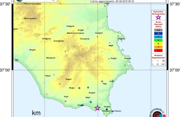 Evento sismico in Sicilia sud-orientale