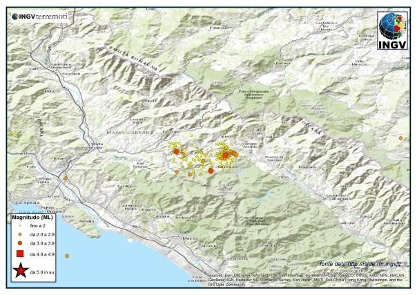 Sequenza sismica in Lunigiana durante il mese di agosto 2013.