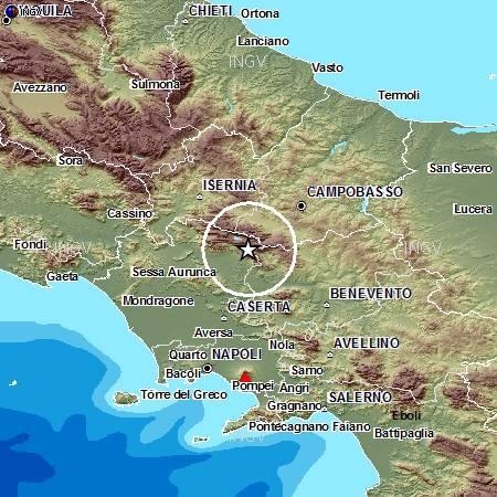 Localizzazione evento sismico delle 18:08 del 29 dicembre tra le province di Caserta e Benevento.