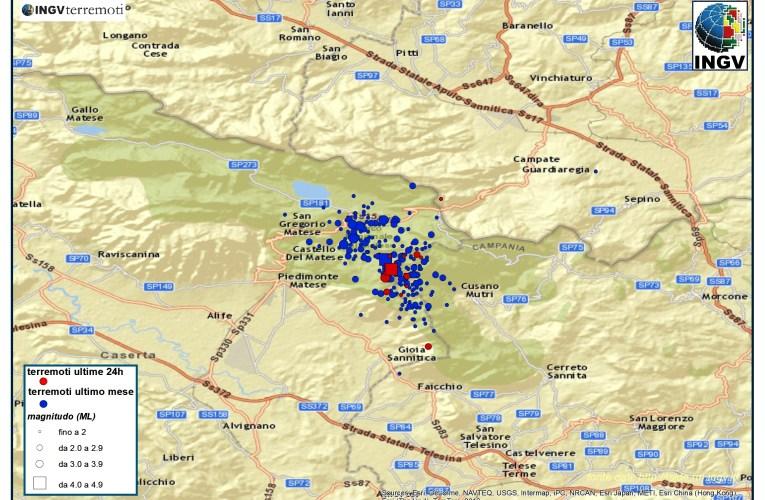 Continua la sequenza tra le province di Caserta e Benevento: aggiornamento 20 gennaio ore 12.00