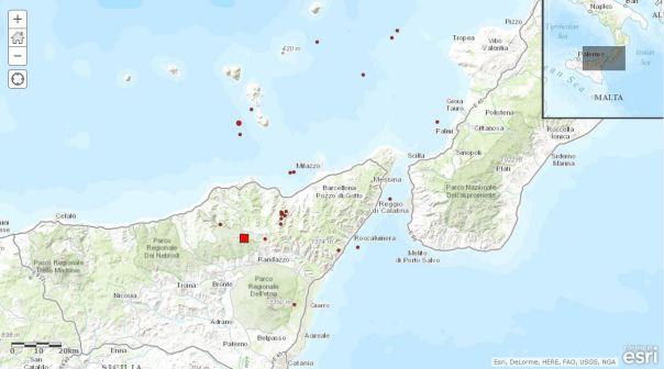 Localizzazione evento sismico Ml 4.0 registrato in provincia di Messina alle ore 21:52. L'epicentro è rappresentato dal quadrato rosso e si trova sui Monti Nebrodi.