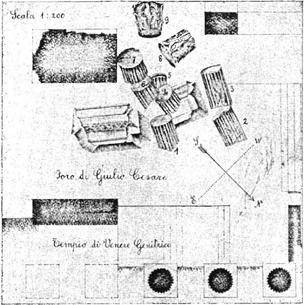 3 - Schema raffigurante l'unità di crollo rinvenuta nel corso delle indagini sui resti del tempio di Venere Genitrice (da Agamennone, 1935).