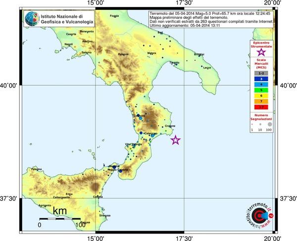 Mappa preliminare dei risentimenti segnalati al sito haisentitoilterremoto.it, aggiornata alle ore 12.37 di oggi.