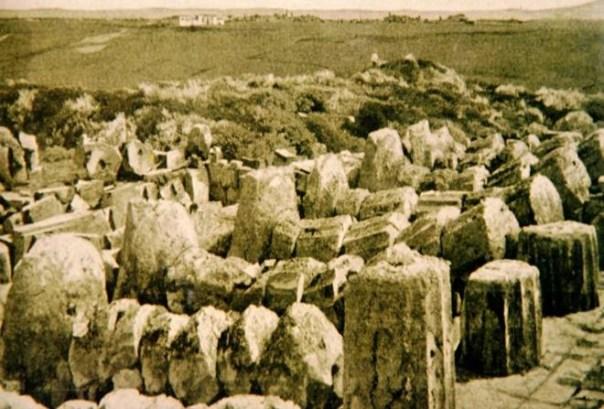Colonne doriche del Tempio C di Selinunte che evidenziano il tipico crollo direzionale dovuto ad un terremoto. Questa foto è precedente al restauro iniziato nel 1929.