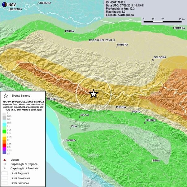 L'epicentro del terremoto Ml 4.0 delle ore 19:49 sovrapposto alla mappa di pericolosità sismica del territorio nazionale (http://zonesismiche.ingv.it)