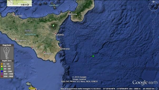 Mappa epicentrale del terremoto di M4.1 avvenuto alle 23:38 UTC al largo della Sicilia orientale (fonte: iside.rm.ingv.it)