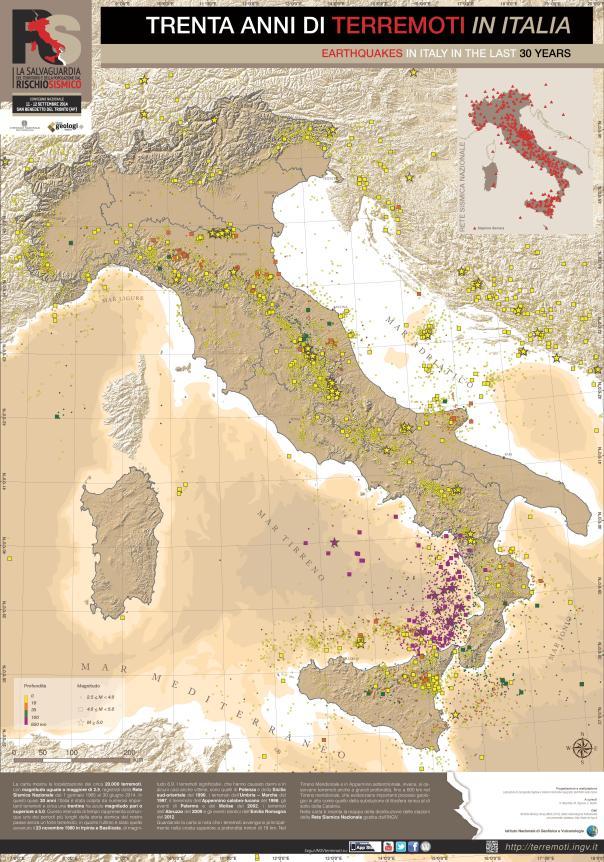 """La carta """"Trenta anni di terremoti in Italia """" che verrà distribuita ai partecipanti al Convegno  di San Benedetto del Tronto l'11 e 12 settembre 2014."""