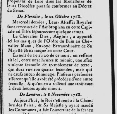 Particolare della figura precedente, con la lettera da Firenze del 22 ottobre 1768 che segnala l'avvertimento del terremoto nella capitale toscana (Gazette de France, n.93, 18 novembre 1768).