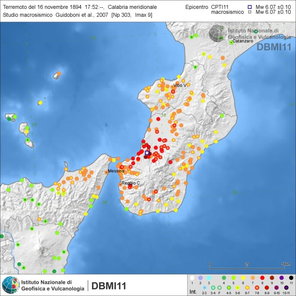 Distribuzione degli effetti del terremoto del 16 novembre 1894 secondo Guidoboni et al. (2007) [fonte: DBMI11].