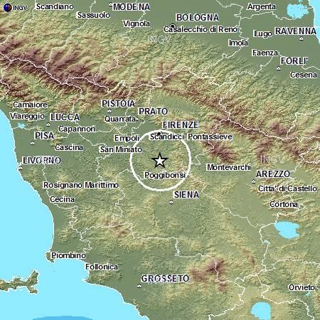Localizzazione dell'vento sismico avvenuto oggi, 19 dicembre, alle ore 10.39