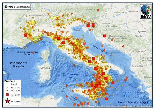 La distribuzione dei terremoti registrati dalla Rete Sismica Nazionale nel 2014 (fonte dati http://iside,rm.ingv.it).