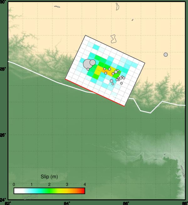 Modellazione della faglia a partire dai dati sismici (fonte: USGS). L'area quadretta rappresenta la proiezione in superficie del piano di faglia e i colori l'entità dello spostamento in metri, secondo la legenda in basso a sinistra.