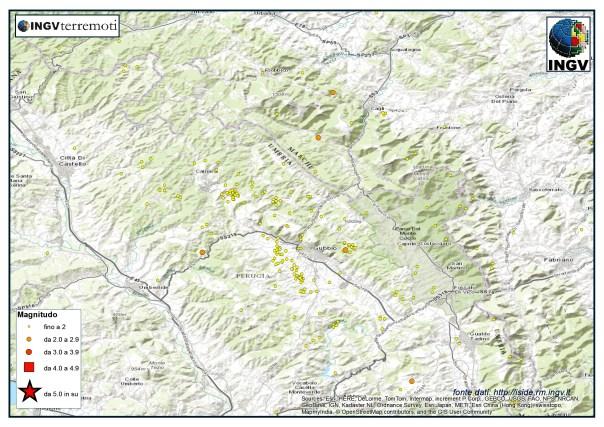 La sismicità nell'area di Gubbio nel mese di marzo.