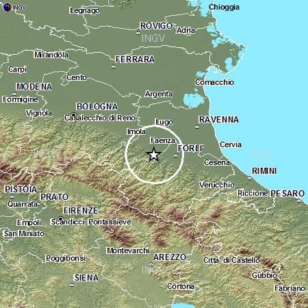 Evento sismico tre le province di Ravenna e Forlì-Cesena, Ml 4.0, 24 aprile ore 17.02
