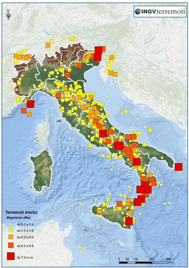 La sismicità dall'anno 1000 al 2006 (Dati: CPTI11, http://emidius.mi.ingv.it/CPTI11/).