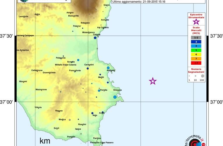 Evento sismico al largo della Costa siracusana, M3.9, 21 settembre ore 00.27